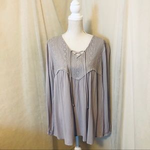Maurices Lavender Lace Detail Peasant Style Tunic